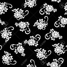 黒と白の花柄のベクター イラストです黒い背景に白い花シームレス パターン