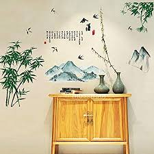beautiful large chinese style wall art stickers green bamboo tree and birds mural oriental decal asian on large wall art stickers uk with beautiful large chinese style wall art stickers green bamboo tree