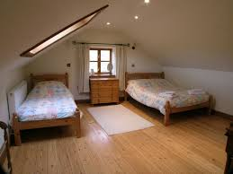Bedroom:Sharing Attic Bedroom Design With Unfinished Two Single Bed With  Drawer And Laminated Flooring