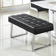 black dining bench. Austin Dining Bench In Black Faux Leather With Chrome Base_1 D