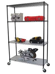 trinity trinity 4 tier nsf 48x18x72 wire shelving rack with wheels and liners black the home depot canada