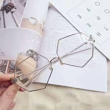 Fashion Vintage Women Palm <b>Frames Polygon Eyeglasses</b> Ladies ...