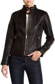 Michael Kors Coat Nordstrom Rack MICHAEL Michael Kors Leather Ribbed Panel Jacket Nordstrom Rack 4