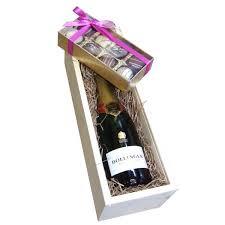 send half bottle bollinger and truffles in wooden box gift set