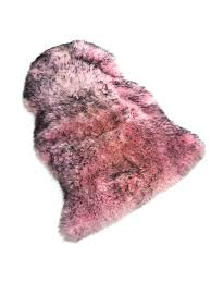 long wool natural genuine sheepskin rug pink with black tips