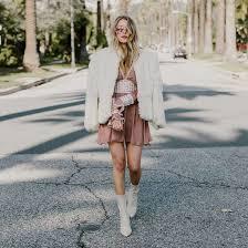 hustle and halcyon blogger dress coat shoes pink dress fur coat boots white boots white fur