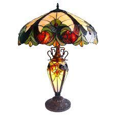 chloe lighting liaison tiffany style 3 light victorian double lit table lamp 18 shade