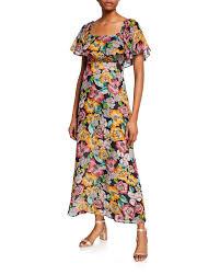 Neiman Marcus Classic Size Chart Eden Floral Print Short Sleeve Chiffon Ruffle Dress
