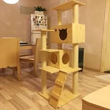 wooden house furniture. Wooden Cat Tree With Scratcher | Climbing House For Cats Natural Pine Wood \u0026 Furniture J