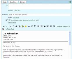 Emailing Job Application Resume Cover Letter