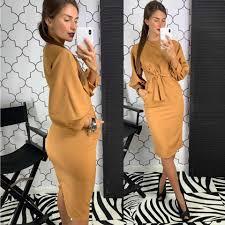 <b>Women Vintage</b> Sexy V neck <b>Button Sashes</b> Dress Lady Solid ...