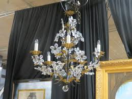 vintage antique italian 5 arm crystal flower chandelier 595
