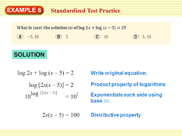 example 6 standardized test practice solution log 2x log x 5