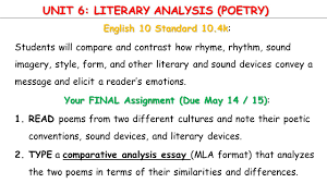 photo analysis essay literary analysis research paper critical  unit literary analysis poetry english standard k unit 6 literary analysis poetry english 10 standard 10