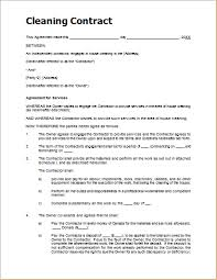 Sample Cleaning Contract Agreement Cleaning Agreement Template Sample Cleaning Contract Template For