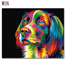 ween colorful dog abstract painting diy digital paintng by numbers modern animals wall art picture for home wall artwork 2017 in painting calligraphy from