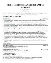 Resume Template Retail Beauteous Retail Store Manager Resume Retail Management Resume Examples Retail