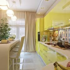 Yellow Kitchen Theme Captivating Yellow Kitchen Theme With Beige Drapes Also Curvy