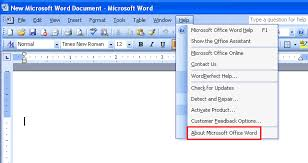 Office 2003 Where Is The About In Word 2003 2007 2010 2013 2016