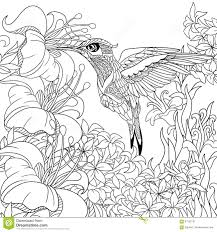 Small Picture Coloring Page With Hummingbird Zentangle Flying Bird For Adult