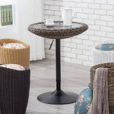modern pub table. Modern 360 Swivel Adjustable Pub Table With Glass ABS Rattan Top, 24.02\u201d Top