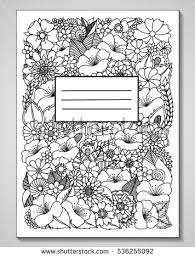 vector ilration zenl bookcover decorated with flowers doodle drawing tative exercises coloring