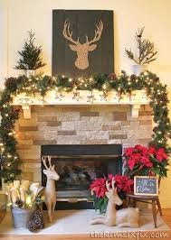 Brown and Red Rustic Reindeer Mantel