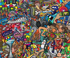Fotobehang Graffiti Sports Collage On A Large Brick Wall Graffiti