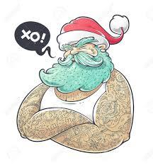 Cool Art Cool Art Of Tattooed Santa Claus Hipster Santa Vector Illustration