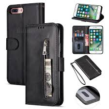retro calfskin zipper leather wallet case cover for iphone 8 plus 7 plus 7p