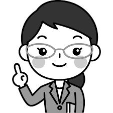 指差しポーズをする先生教師講師のイラスト かわいい女性の無料
