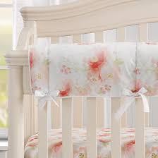 pink watercolor fl crib rail cover