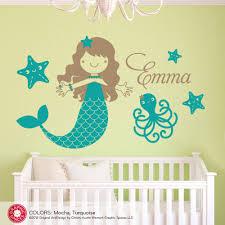 Mermaid Bedroom Decor Mermaid Name Wall Decal Ocean Under The Sea Baby Girl Nursery