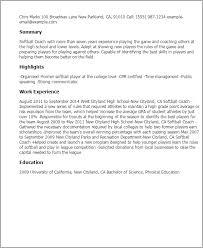 resume templates softball coach sales coach resume