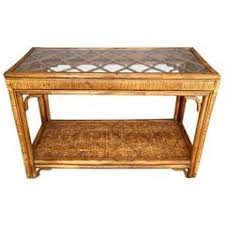 rattan console table. Handsome Rattan And Glass Console Table B