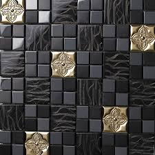 Metal floor tiles Rectangle Metal Backsplash Tiles Stainless Steel Sheet And Crystal Glass Blend Mosaic Wall Decor 636 Homintercom Wholesale Metallic Backsplash Tiles Brown 304 Stainless Steel Sheet