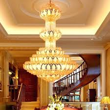 crystal chandelier lighting fixture led gold chandeliers lotus lamp big long hotel lobby hall villa lights