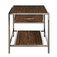 modern industrial style chocolate brown wood and smoked metal end table