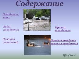Презентация на тему Наводнения Наводнение это Виды наводнений  Виды наводнений Причины наводнений Правила поведения во время наводнения Пример наводнения