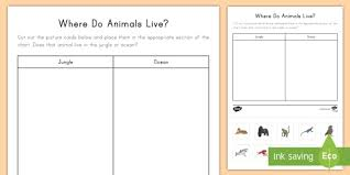 Animal Activity Chart Where Do Animals Live Worksheet Worksheet Animals