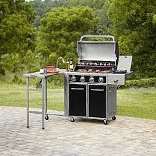 kenmore bbq. kenmore 4 burner gas grill with folding side table, lit knobs, and table light bbq