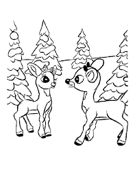 Cartoon Reindeer Coloring Pages Christmas Baby Rescuedesk Me