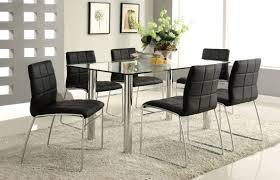 metal dining room chairs chrome: glass top dining table with chairs