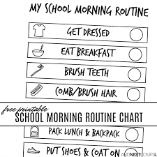 Free Printable School Morning Visual Routine Chart For Kids