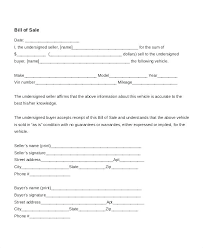 15 Generic Vehicle Bill Of Sale Resume Cover