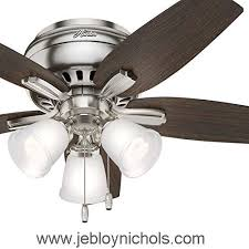 hunter fan 42 inch low profile brushed nickel indoor ceiling fan with led light kit certified