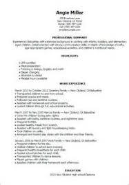 resume skills babysitting 2 babysitting sample resume