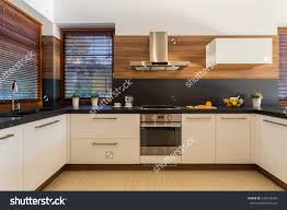 Luxury Kitchen Furniture Horizontal View Modern Furniture Luxury Kitchen Stock Photo