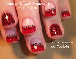 Nail Art Design: KONY 2012, leather and lace nails, red and black ...