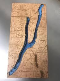Keuka Lake Depth 3 D Wood Map Silhouette Layered Free Shipping